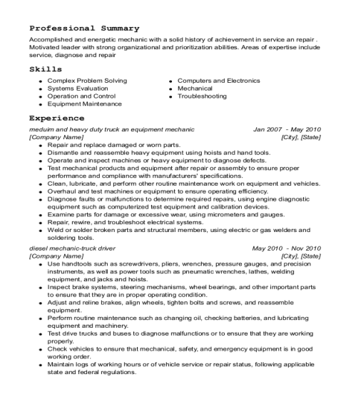 meduim and heavy duty truck an equipment mechanic resume sample Wisconsin