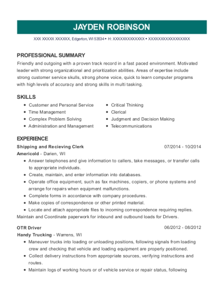 Shipping and Recieving Clerk resume example Wisconsin