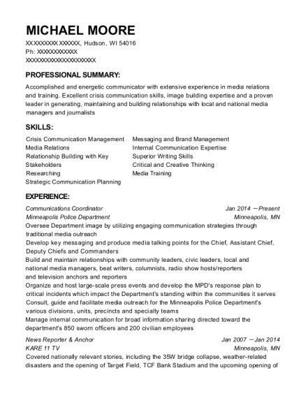 Communications Coordinator resume example Wisconsin