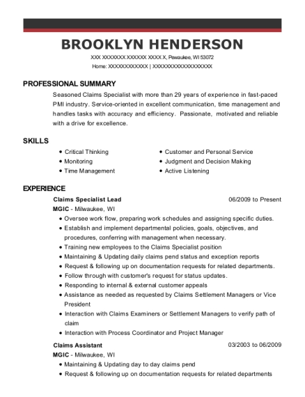 Claims Specialist Lead resume format Wisconsin