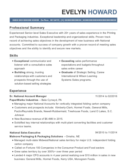 Mars Company Sr National Account Manager Resume Sample