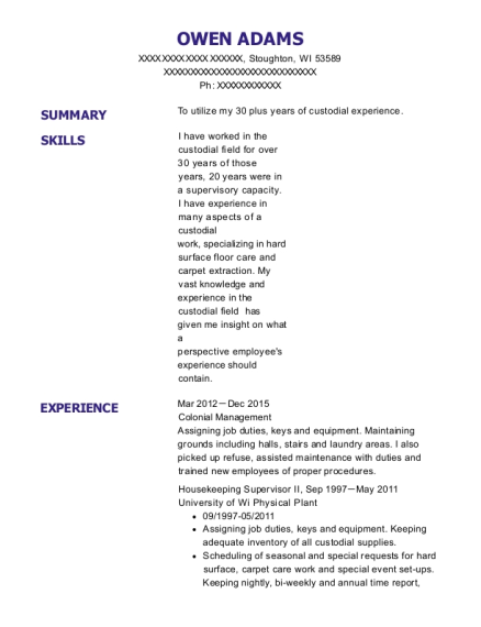 Housekeeping Supervisor II resume sample Wisconsin