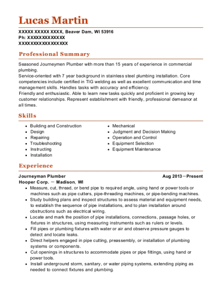 Journeyman Plumber resume sample Wisconsin