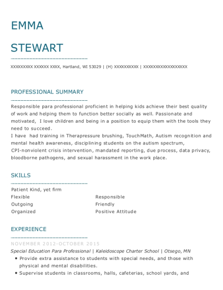 Special Education Para Professional resume sample Wisconsin