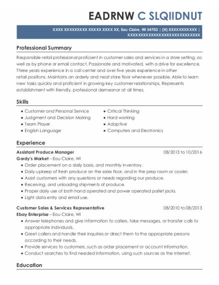 Assistant Produce Manager resume format Wisconsin