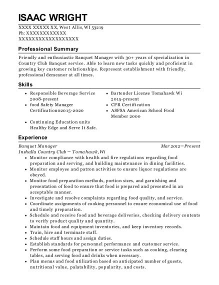 Banquet Manager resume sample Wisconsin