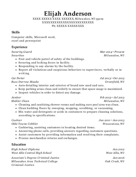 Security Guard resume format Wisconsin