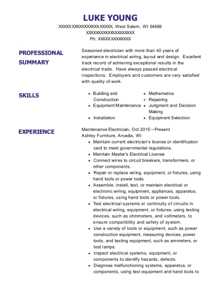 Maintenance Electrician resume example Wisconsin