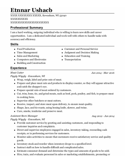 Meat Cutter resume format Wisconsin
