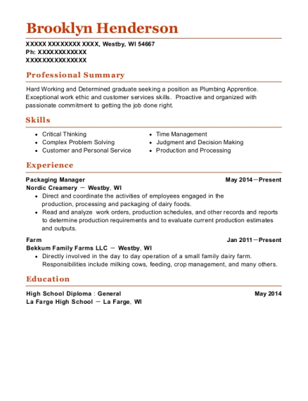 Asheville Brewing Co Packaging Manager Resume Sample
