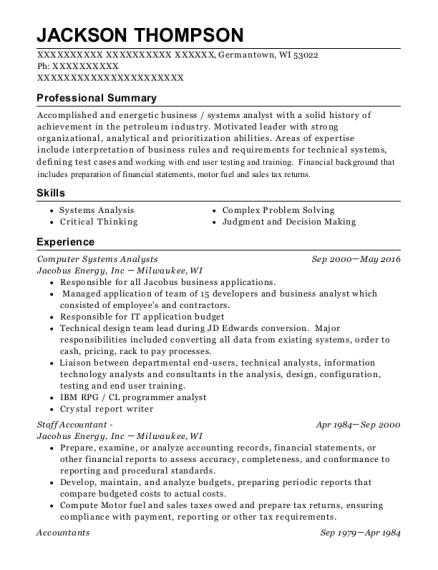Computer Systems Analysts resume template Wisconsin