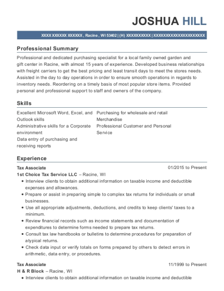 Tax Associate resume template Wisconsin