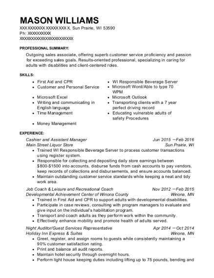 Main Street Liquor Store Cashier And Assistant Manager Resume Sample