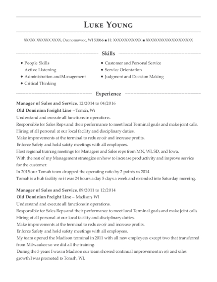 Manager of Sales and Service resume template Wisconsin