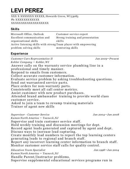 Customer Care Representative II resume template Wisconsin