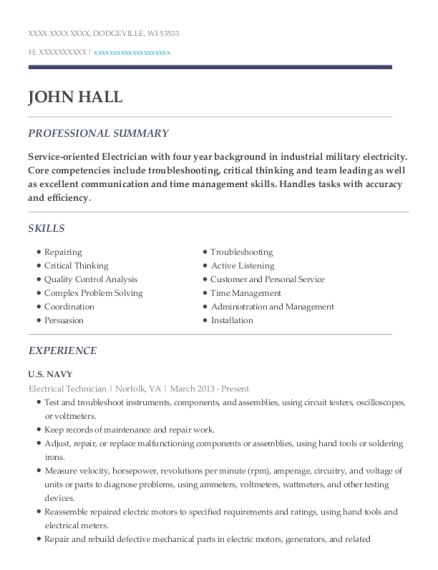 Electrical Technician resume example Wisconsin