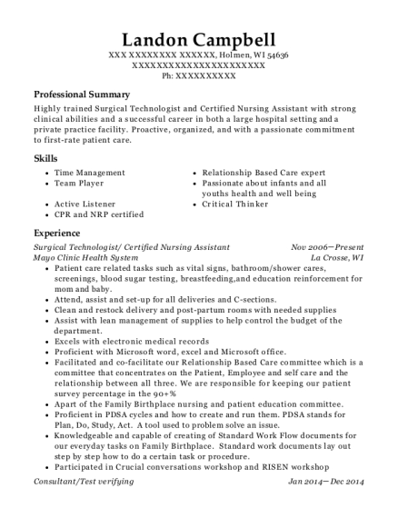 Surgical Technologist resume sample Wisconsin