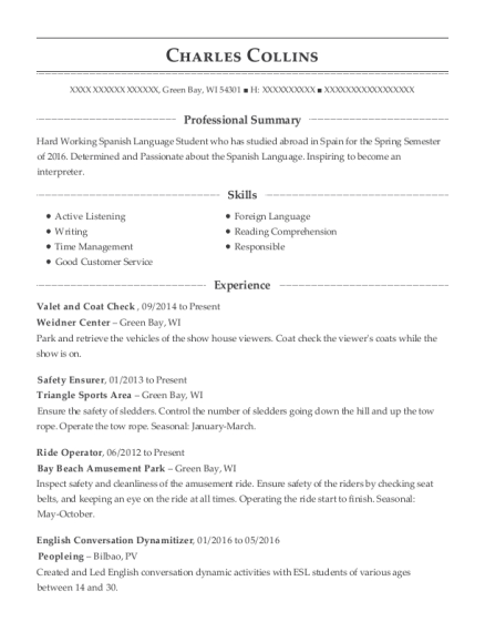 Valet and Coat Check resume example Wisconsin