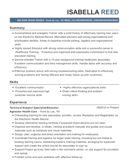 Technical Support Specialist resume sample Wisconsin