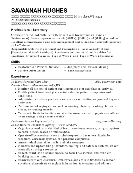 In Home Personal Care Aide resume template Wisconsin