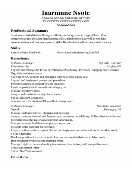 Materials Manager resume format Wisconsin