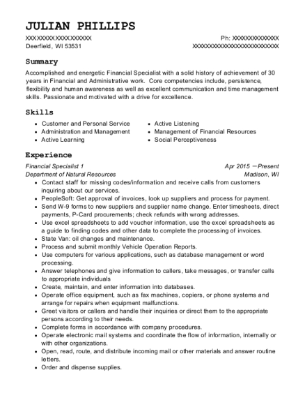 Financial Specialist 1 resume sample Wisconsin