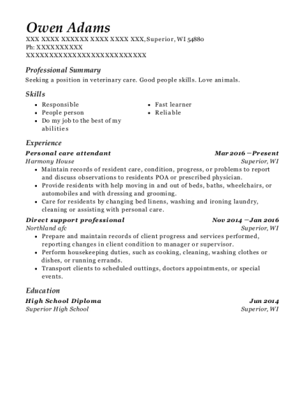 Personal care attendant resume format Wisconsin