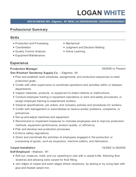 Production Manager resume format Wisconsin