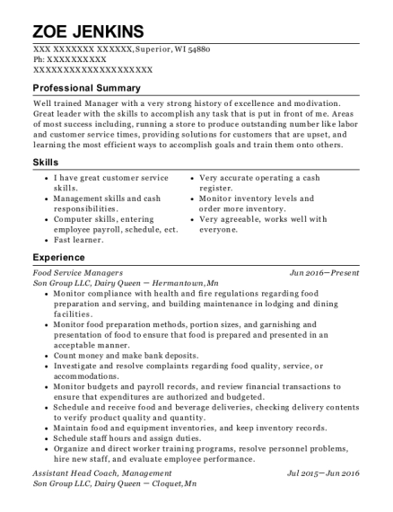 Food Service Managers resume template Wisconsin