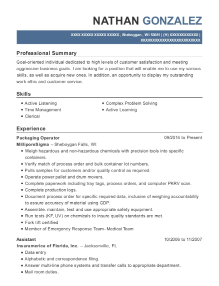 Packaging Operator resume template Wisconsin
