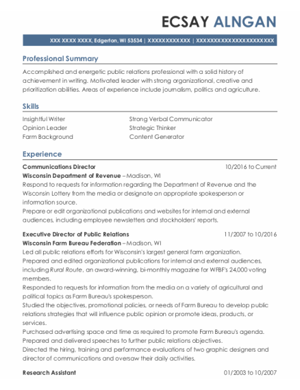 Executive Director of Public Relations resume sample Wisconsin