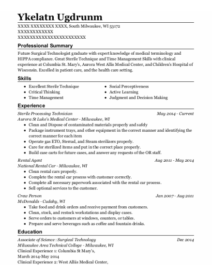 Specialty Care Inc Sterile Processing Technician Resume