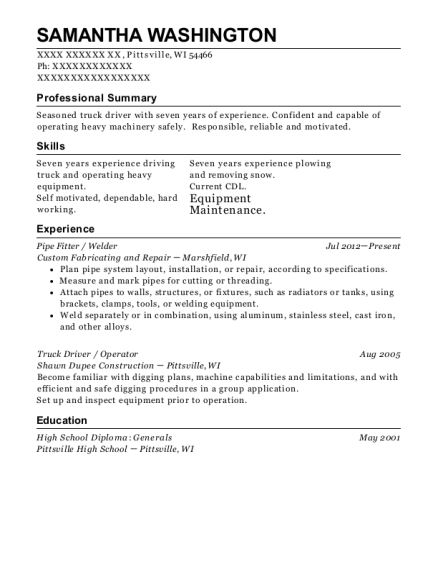 Pipe Fitter resume sample Wisconsin