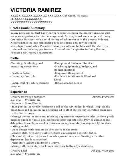 Grocery Operation Manager resume format Wisconsin