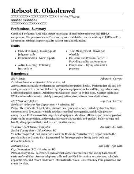 Emt Basic resume example Wisconsin