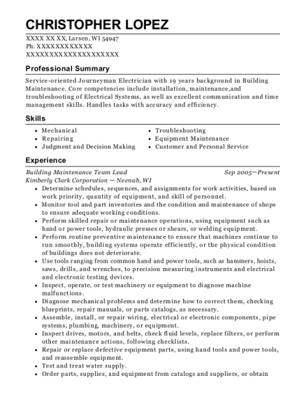 Building Maintenance Team Lead resume format Wisconsin