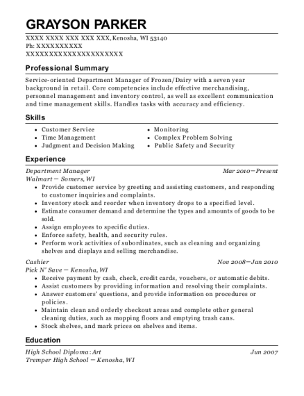 Department Manager resume format Wisconsin