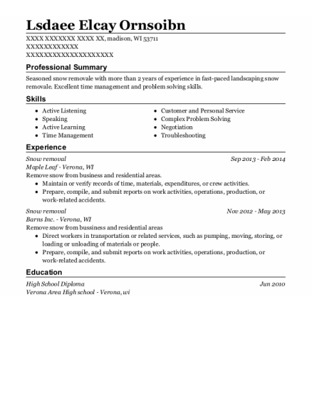 Snow removal resume example Wisconsin