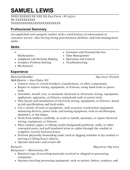 Material Handler resume sample Wisconsin