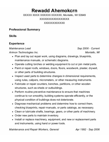 Maintenance Lead resume example Wisconsin