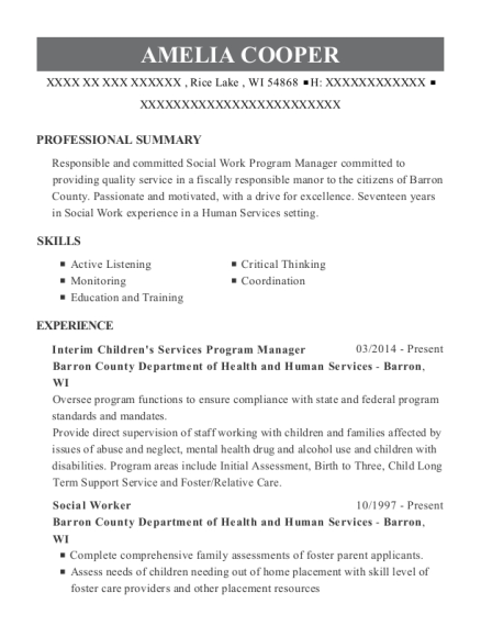 Interim Childrens Services Program Manager resume template Wisconsin