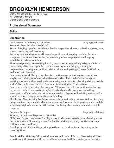 Lead person in Culinary Arts kitchen resume format Wisconsin