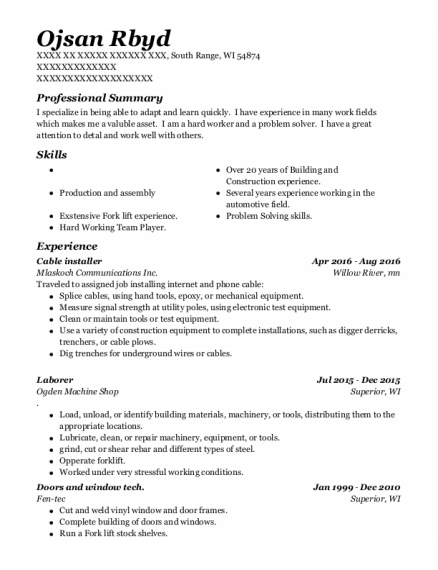 Cable Installer resume sample Wisconsin