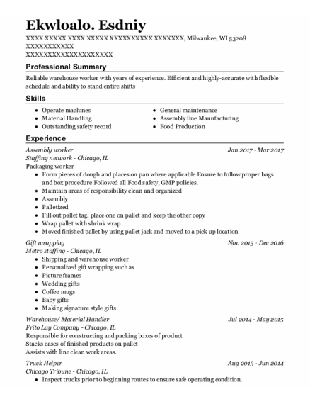 Assembly Worker resume example Wisconsin