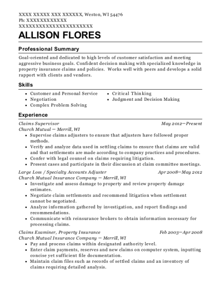 Claims Supervisor resume template Wisconsin