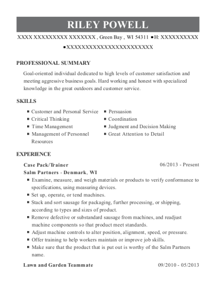 Case Pack resume format Wisconsin