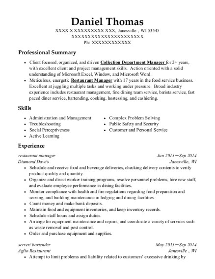 Restaurant Manager resume sample Wisconsin