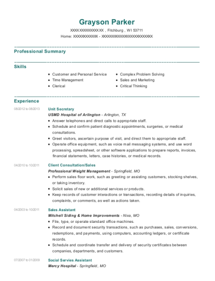 Unit Secretary resume template Wisconsin