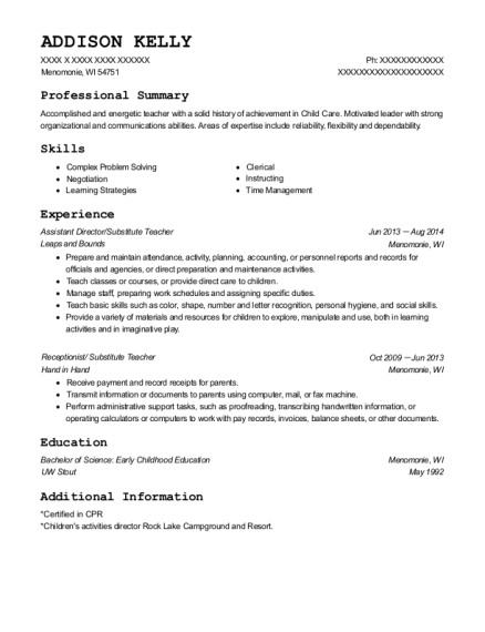 Assistant Director resume format Wisconsin