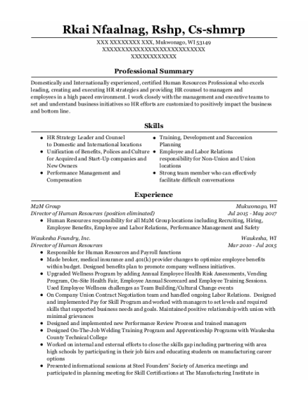 Director Of Human Resources resume template Wisconsin